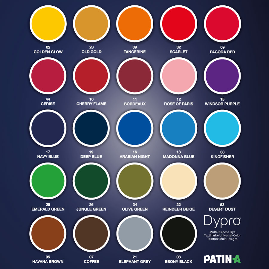Dypro (Dylon) Farbkarte / Color Chart / Nuancier