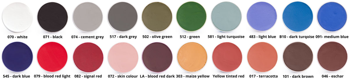 Kryolan Aquacolour - Farbkarte - Nuancier - Colourchart