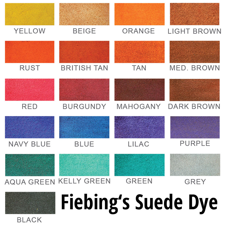 Fiebing's Suede & Rough-Out Dye - Wildlederfarbe -  Farbkarte