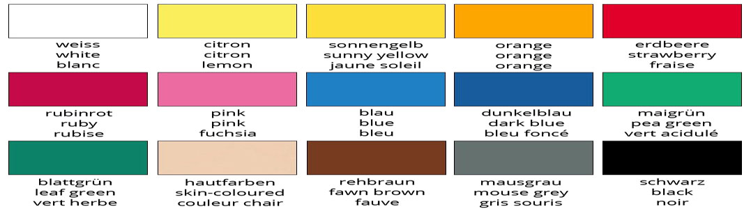 Pictixx Farbkarte, Colour chart, nuancier