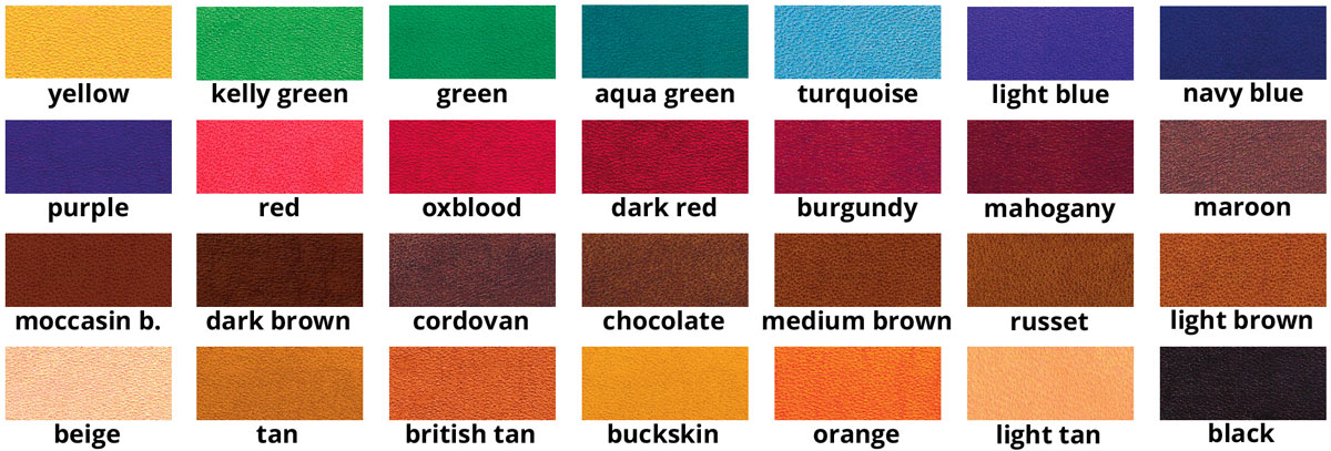 Fiebings Leather Dye Colour Chart / Nuancier / Farbkarte