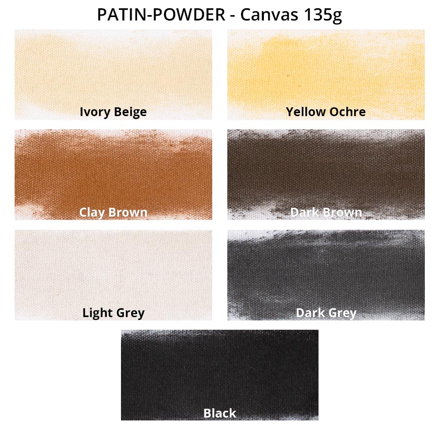 PATIN-POWDER-PACK - Patinierpuder - Farbkarte auf weißem Canvas
