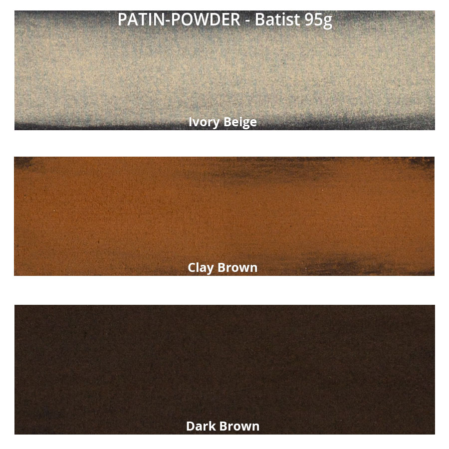 PATIN-POWDER 3er-SET - warme Farben - Farbkarte auf Batist
