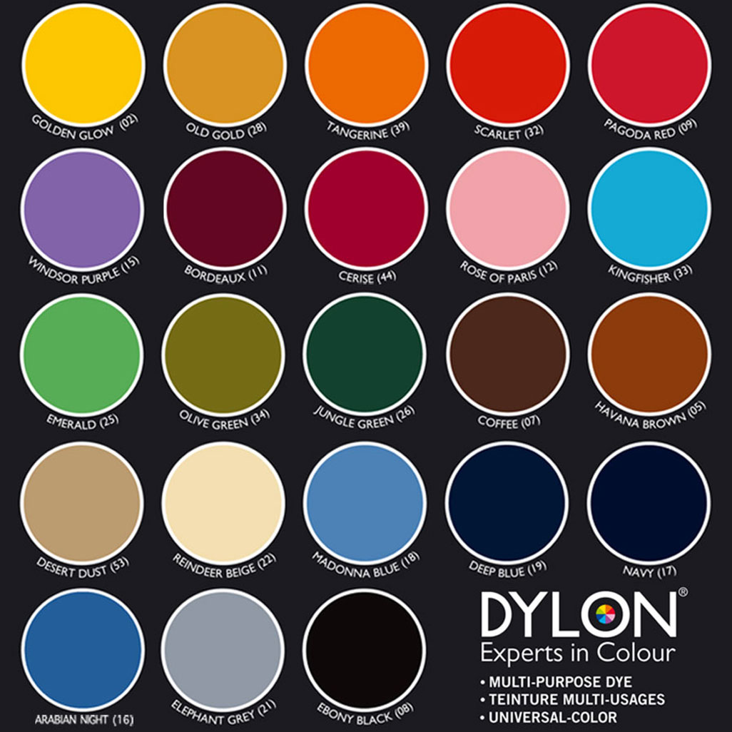Dylon Farbkarte / Colour Chart / Nuancier