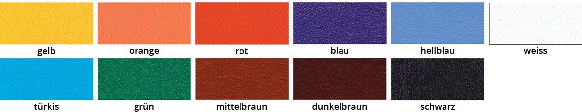 Farbkarte Fiebings Acrylic Leather Dye
